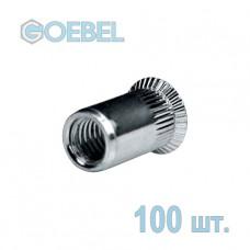Заклёпка резьбовая GOEBEL A2 открытая с потайным бортом - М4 - 1.5-4.0 мм 100 шт.