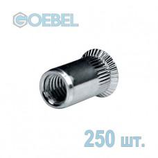 Заклёпка резьбовая GOEBEL A2 открытая с потайным бортом - М4 - 1.5-4.0 мм 250 шт.