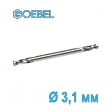 Сверло по металлу GOEBEL двухстороннее короткое HSS-G шлифованное Ø 3.1 мм