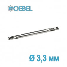 Сверло по металлу GOEBEL двухстороннее короткое HSS-G шлифованное Ø 3.3 мм